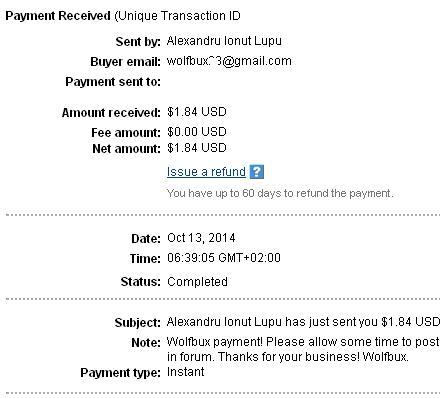 1º Pago de Wolfbux ( $1,84 ) Wolfbuxpayment