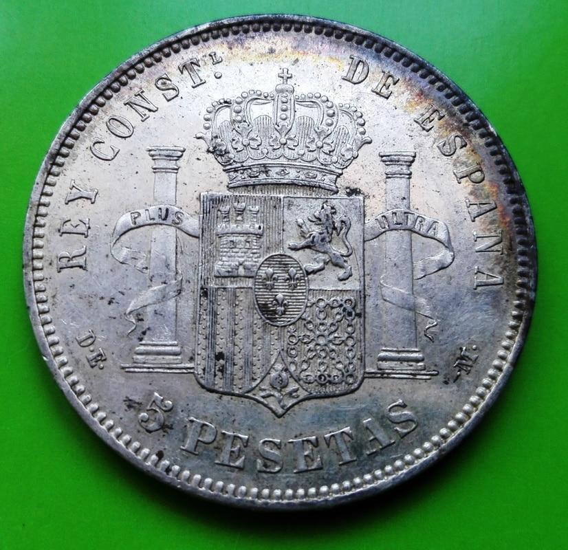 5 pesetas 1877. Alfonso XII. DE M 5_pts_1877_4