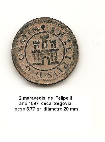 2 maravedís de Felipe II año 1597 Image