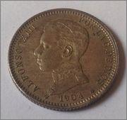 1 PESETA 1904 (*19-04) MADRID SM V. DEDICADA A ESTRELLA76. Image