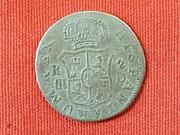 Curiosa Falsa de Epoca con Resello de Vique. 2 Reales de Carlos III año 1784 S104_1