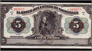 chihuahua - 5 pesos México 1913 (Banco del Estado de Chihuahua) Image