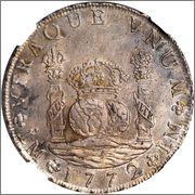 """8 reales """"columnarios"""" 1772. Carlos III. Lima. Corgan dedit. Image"""