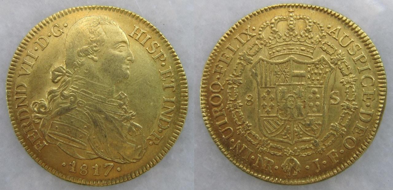 8 Escudos 1817. Fernando VII busto Carlos IV. Nuevo Reino 8_escudos_1817_Nuevo_Reino_Fernando_VII_busto_d