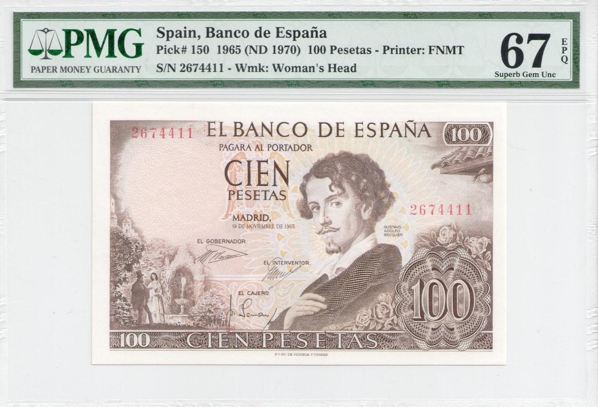 Colección de billetes españoles, sin serie o serie A de Sefcor - Página 3 100_ptas_65_anverso
