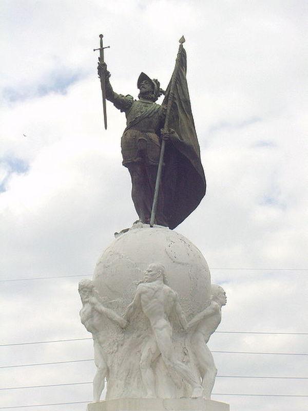 MONEDA DE 1/4 DE BALBOA - PANAMA 1993 ESTATUA_DE_VASCO_NU_EZ_DE_BALBOA_EN_PANAMA