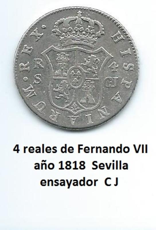 4 reales de Fernando VII año 1818 Image