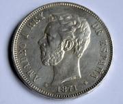 5 pesetas 1871 (*18-74). Amadeo I Estrella_74_b
