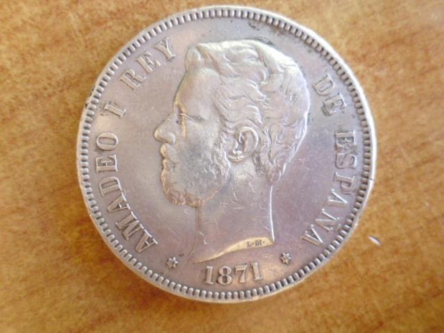 I aniversario numismario: 5 pesetas 1871 18-74 Amadeo I P1100938