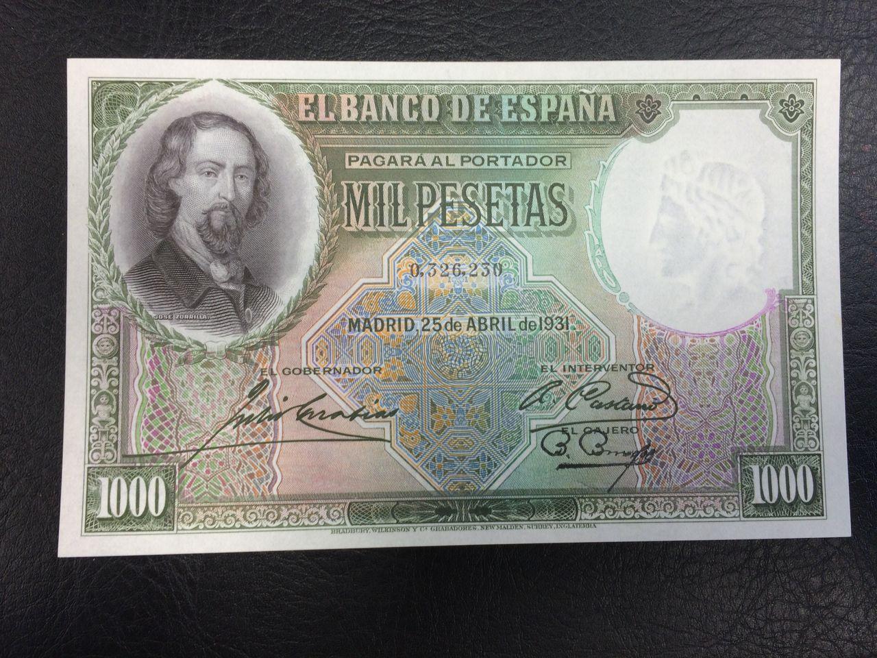 1000 Pesetas 1931 (Zorrilla. capicúa!!) Image