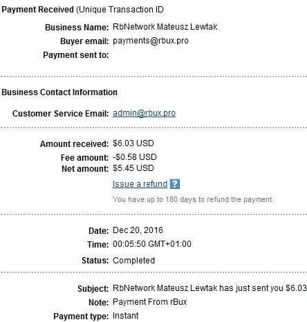 3º Pago de RBux ( $6,03 ) Rbuxpayment