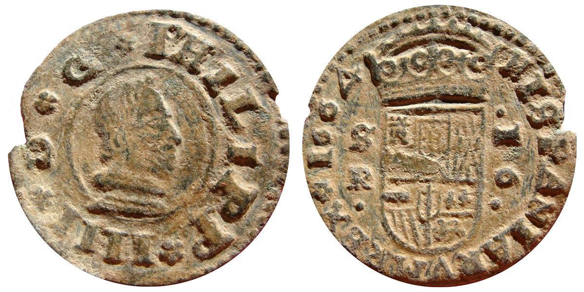16 maravedís 1664. Felipe IV, ceca Sevilla, variante Philipp. Image