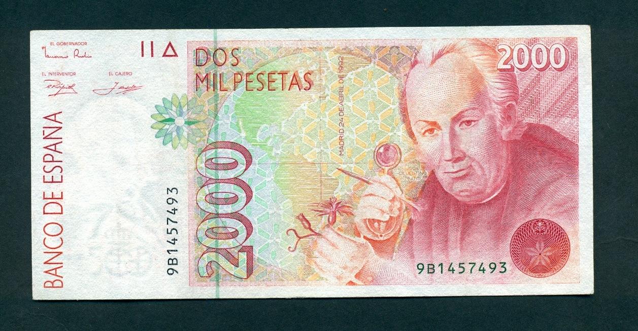 2000 Pesetas, 1992 (Serie 9B doble numeración) Image