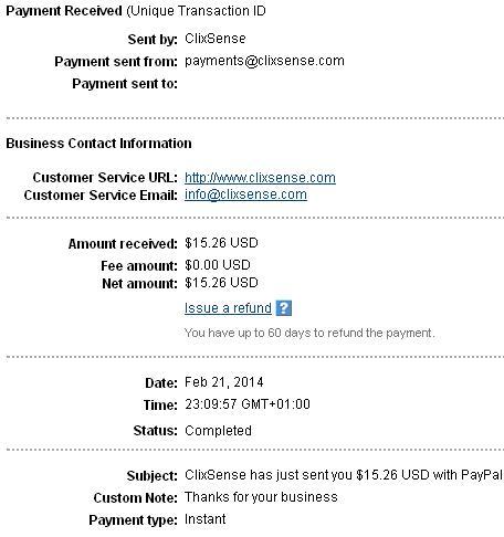 26º Pago de Clixsense ( $15,26 ) Clixsensepayment