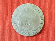Curiosa Falsa de Epoca con Resello de Vique. 2 Reales de Carlos III año 1784 S104