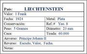 LIECHTENSTEIN 1 Frank 1924 Liechtenstein_1_frank_1924_Ficha