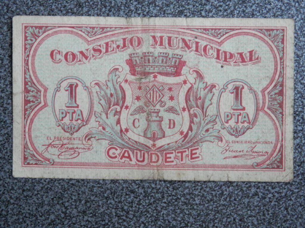 BILLETE REPUBLICANO CAUDETE ALBACETE CONSEJO MUNICIPAL 1 PESETA  Image