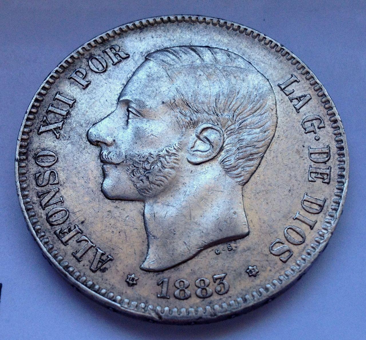 5 pesetas 1883 MS M Alfonso XII IMG_4669