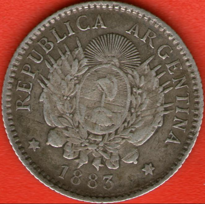 10 Centavos de Patacón. Argentina. 1883 Rev