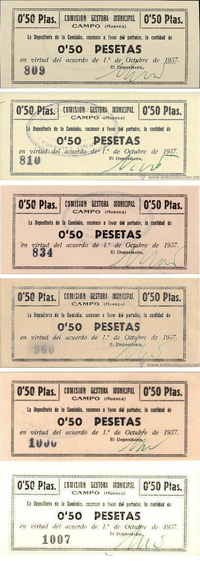 50 Céntimos Comisión Gestora Municipal Campo, 1937 (Huesca). Campo6517qg