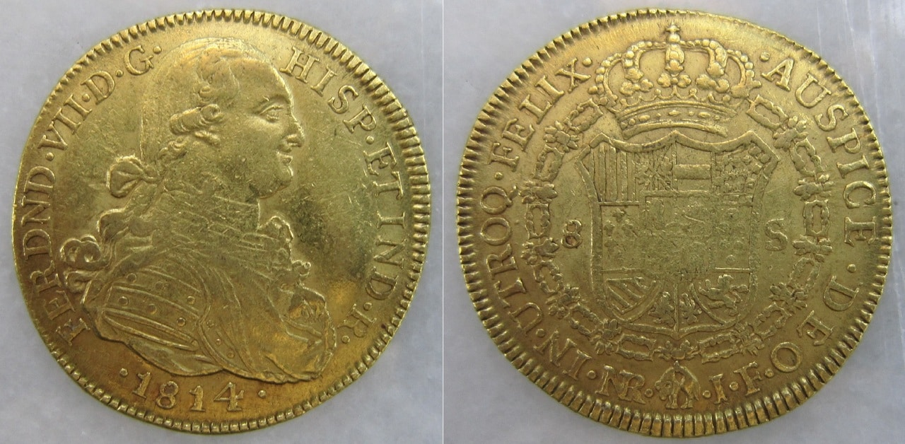 8 Escudos 1814. Fernando VII. Nuevo Reino. 8_escudos_1814_Nuevo_Reino_Fernando_VII_busto_C