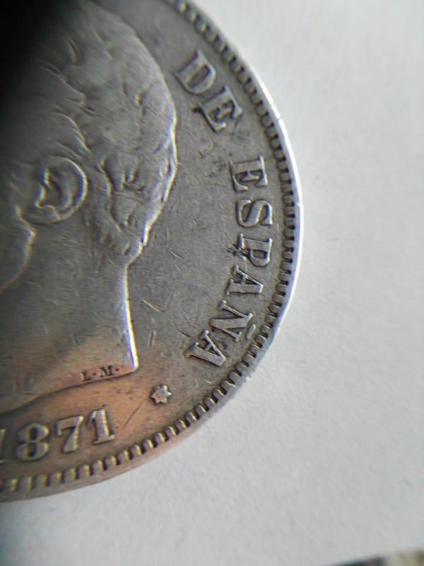 5 pesetas 1871 (*18-73). Amadeo I Estrella72_2