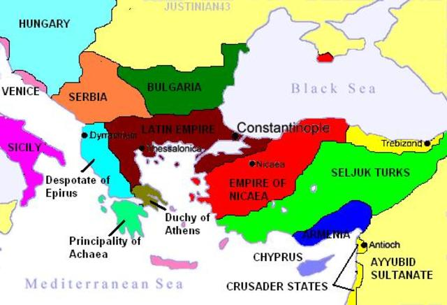 Falso Hyperpyron de Juan III Vatatzés.  Mapa_nicea