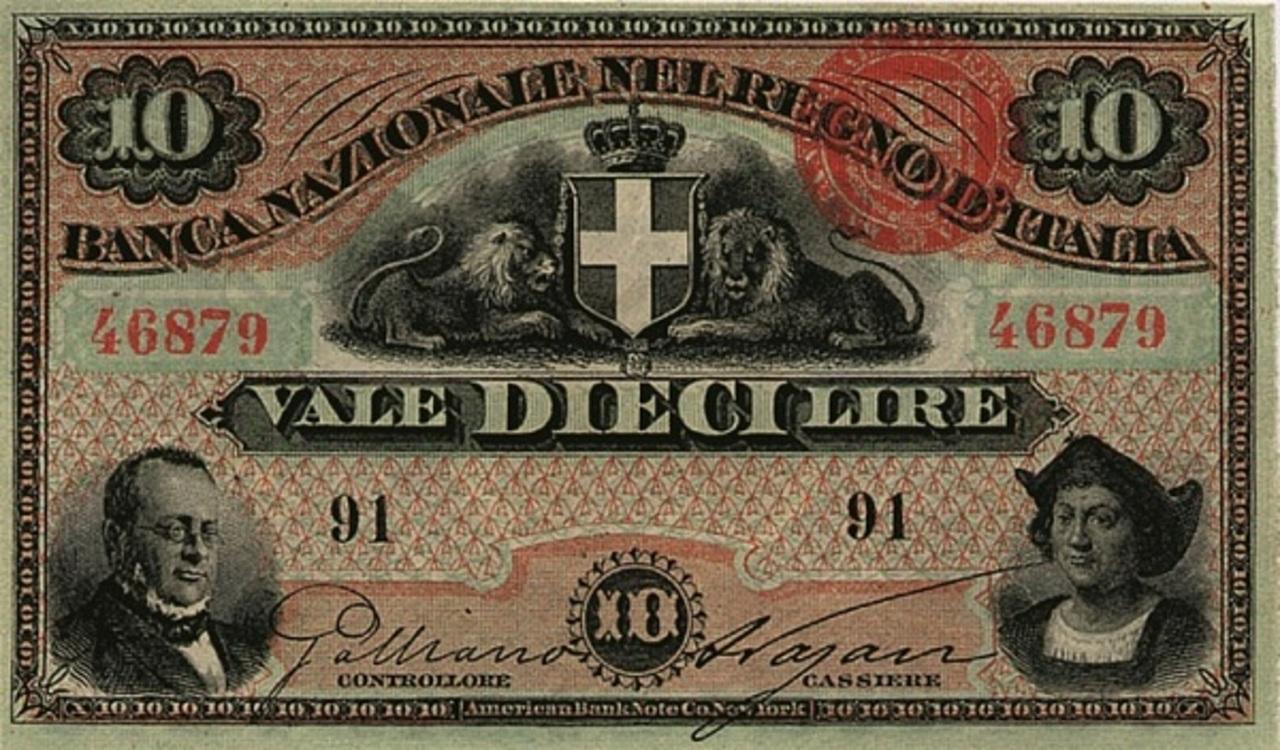 10 pesos Uruguay 1887 (Banco Italiano del Uruguay) ITA