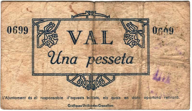 1 Peseta Vallflorida,  MCMXXXVII Vallflorida2