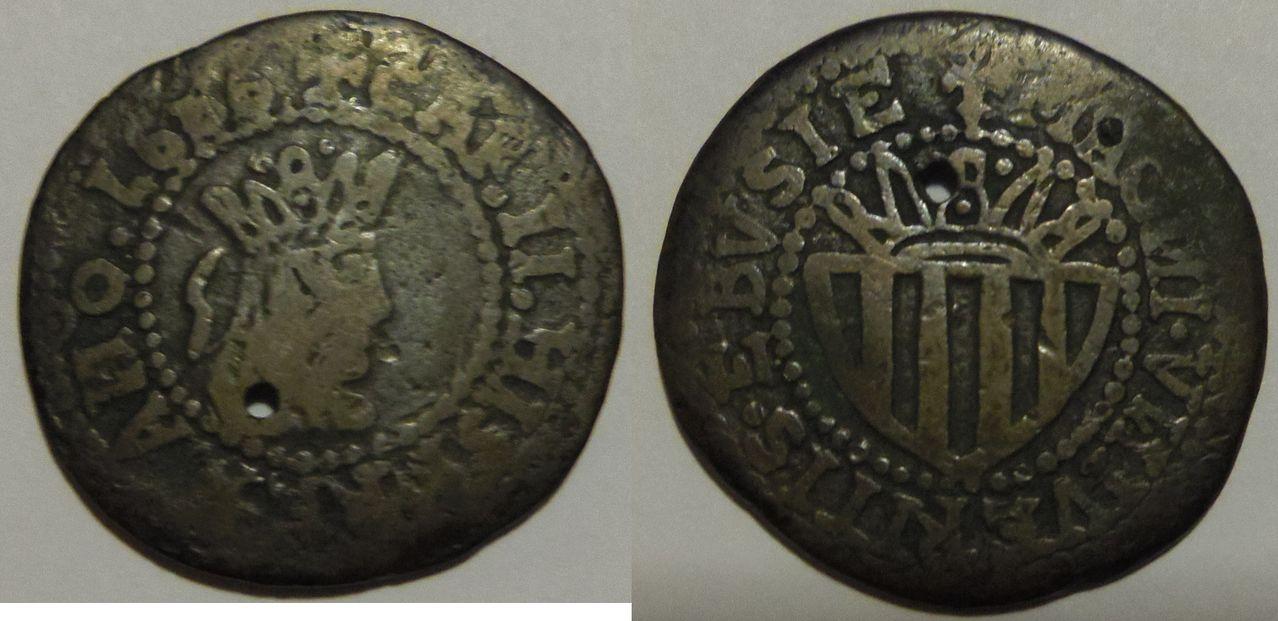 Sueldo/12 Dineros. Carlos II. Ibiza. 1686. Cinnwiijnjj