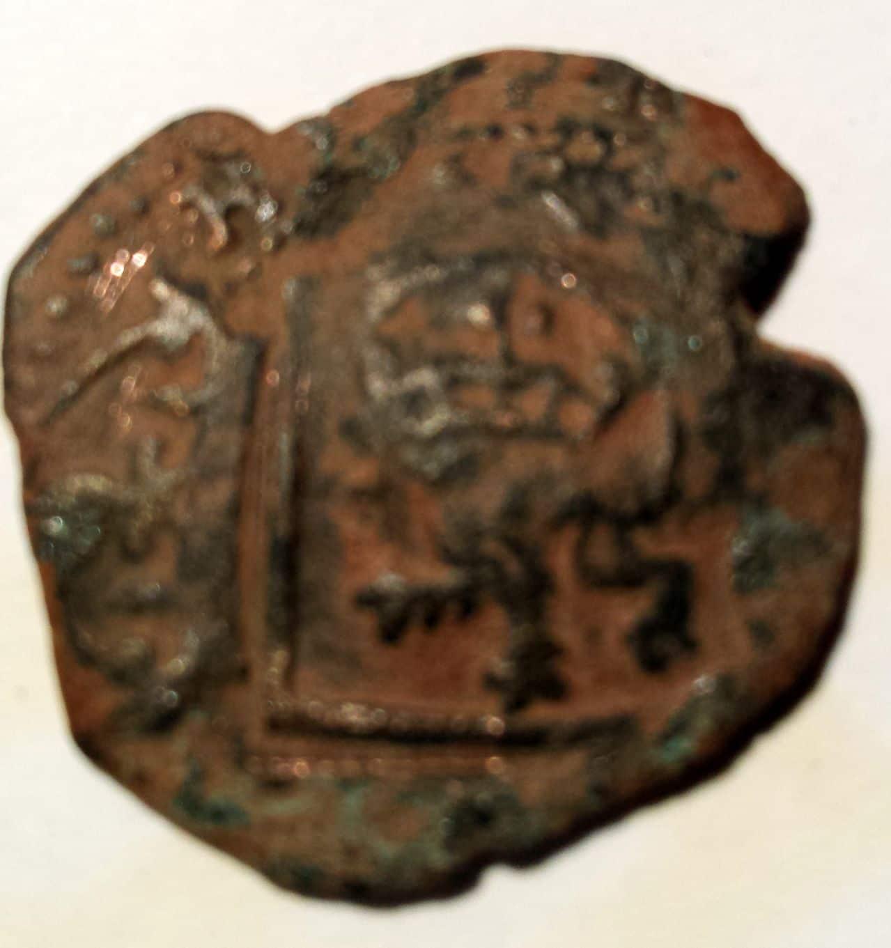 8 maravedís de Felipe III ó IV de Burgos. resellados a VIII 1641-2, ceca Cuenca . Resello1a