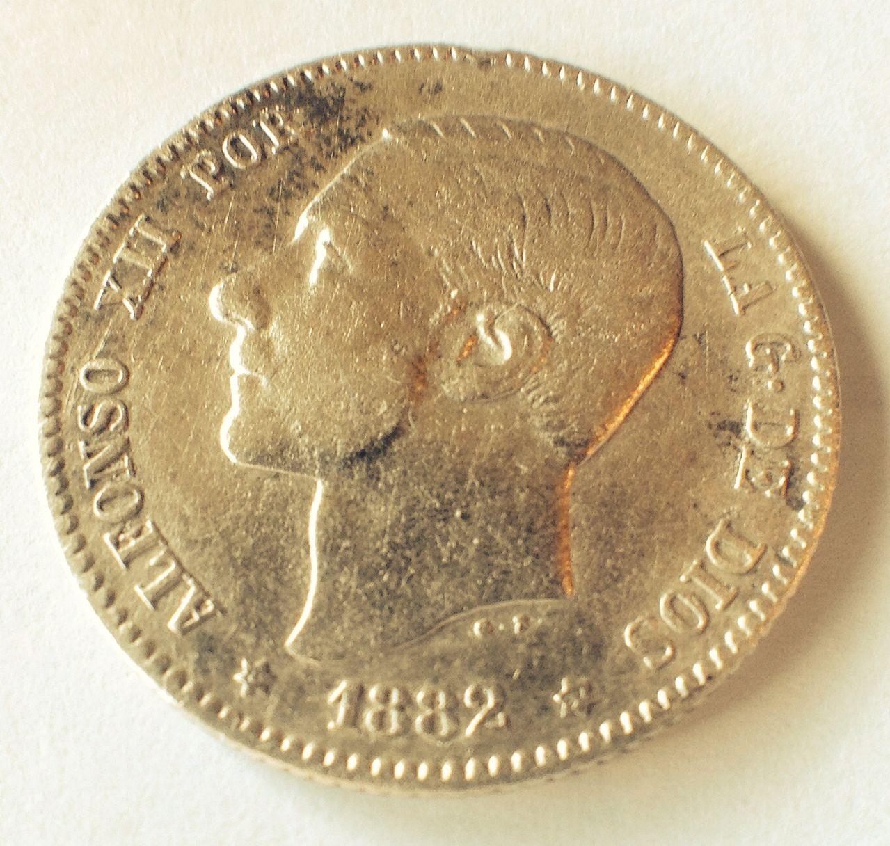 1 peseta 1882 Alfonso XII Image