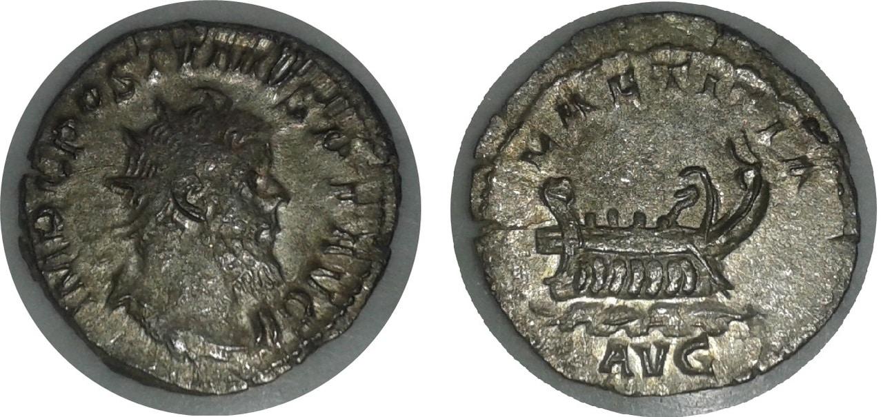 Glosario de monedas romanas. GALERA. Postumo_laetitia