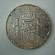 5 Pesetas 1883*18-83 Alfonso XII ,MS-M  Image