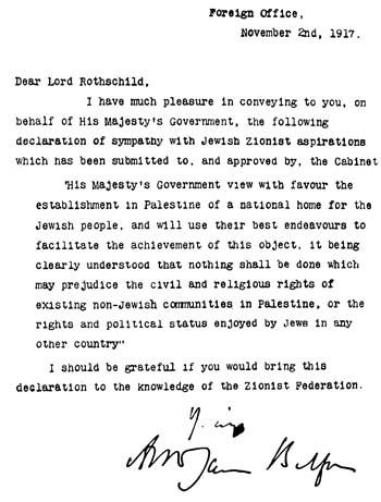 La creación del Estado de Israel, el químico y las castañas Balfour_declaration