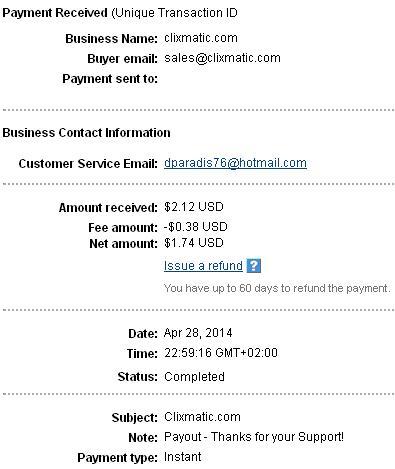 1º Pago de Clixmatic ( $2,12 ) Clixmaticpayment