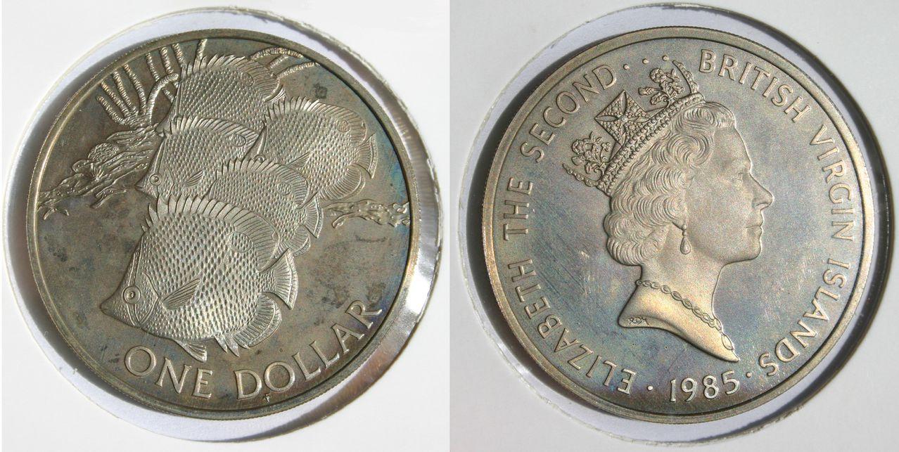 1 Dollar 1985, Isabel II, Islas Vírgines (Emisión Conmemorativa) 1_Dollar_1985_British_Virgin_Islands