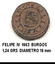 4 maravedís de Felipe IV año 1663 Image