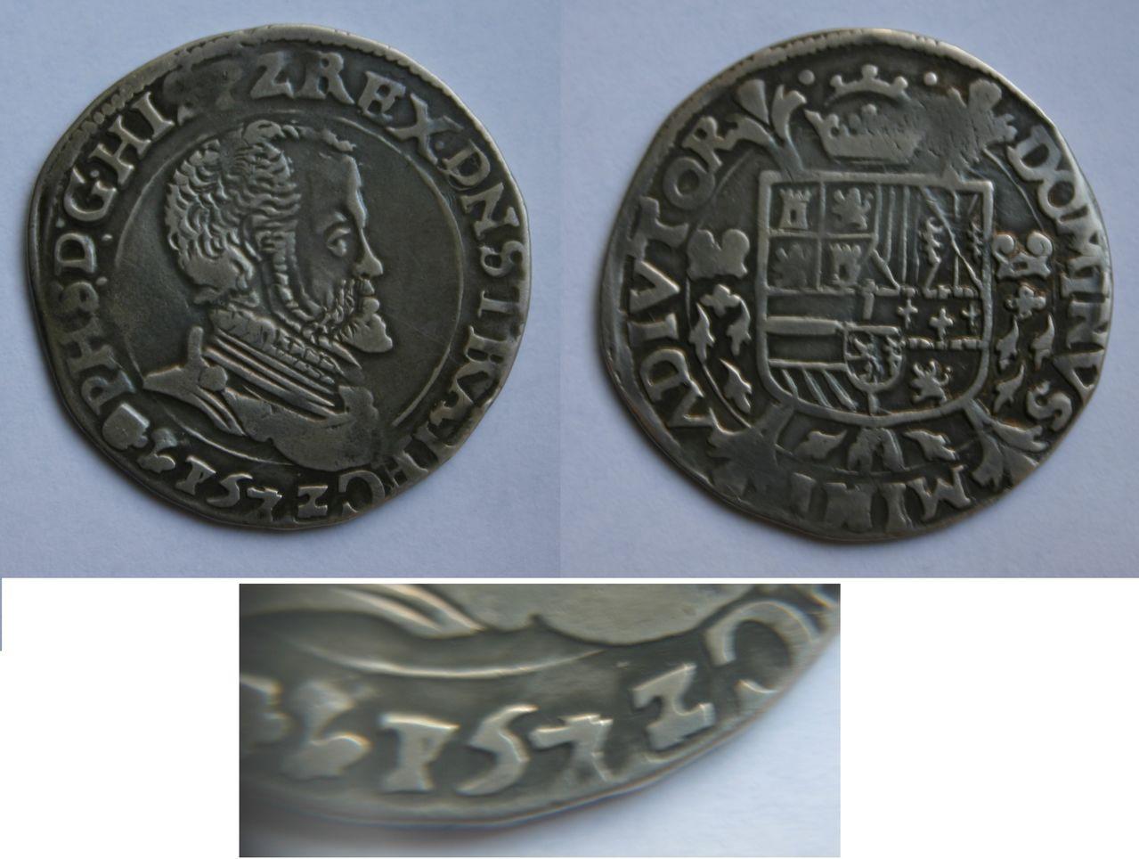 1/5 escudo 1572 sobre 1751. Felipe II. Utrecht. 1_5_Philipsdaalder_Utrecht_1751_1572