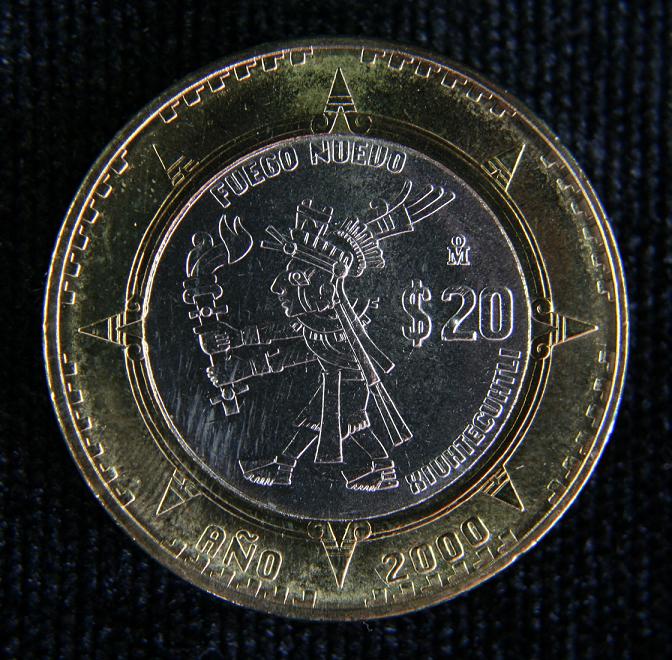 México, 50 pesos, 1993. ¡BESTIAL! 20_Pesos_Xiuhtecuhtli_2000_Reverso