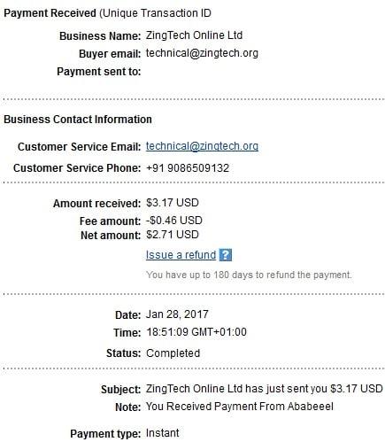 1º Pago de Ababeeel ( $3,17 )   Ababeeelpayment