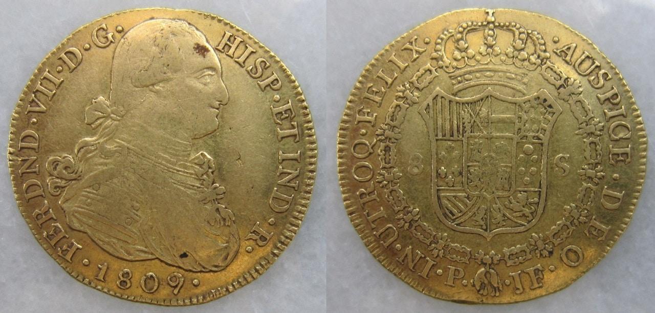 8 Escudos 1809. Fernando VII con busto de Carlos IV. Popayán.  8_escudos_Popay_n_1809_Fernando_VII_busto_Carlo