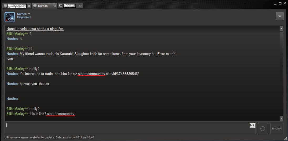 Cuidado com Hack Steam Fake