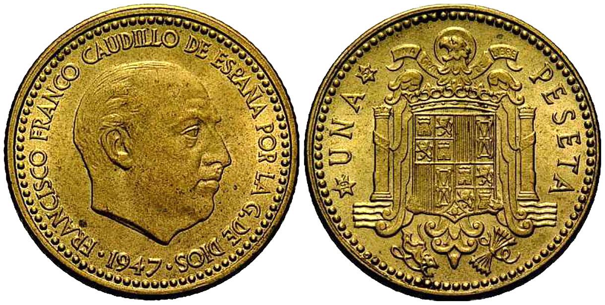 La progesion de la peseta y su decadencia. 1947_1pta_19_52