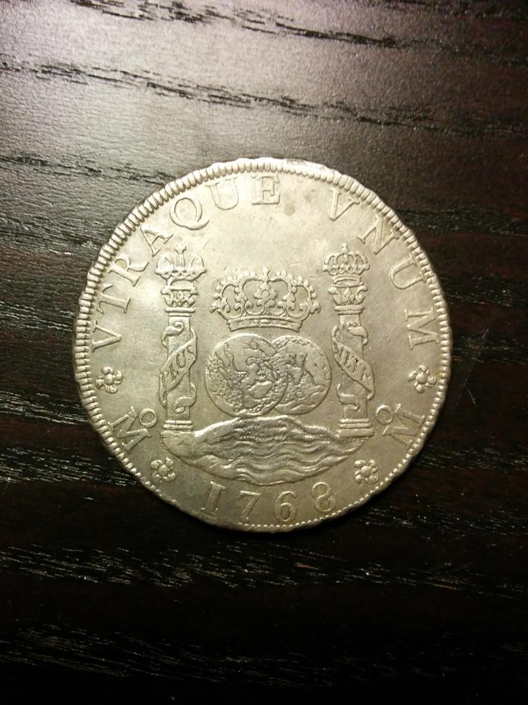 8 reales 1768. Carlos III. Méjico. Mi primer columnario Anverso