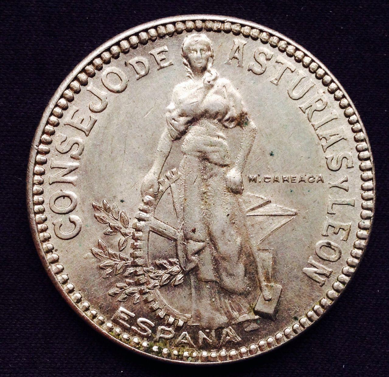 2 pesetas 1937 Consejo de Asturias y León- Tristán dedit Image