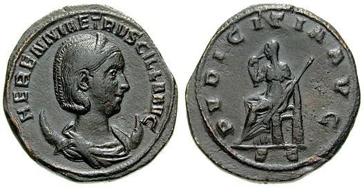 Sestercio de Herennia Etruscilla. PVDICITIA AVG S C. Ceca Roma. RIC_0136d