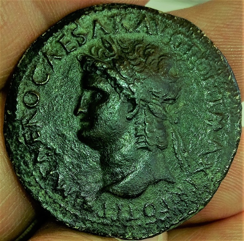 Sestercio de Nerón. ROMA - S C. Roma sedente a izq. Ceca Lugdunum. IMG_20161221_132046
