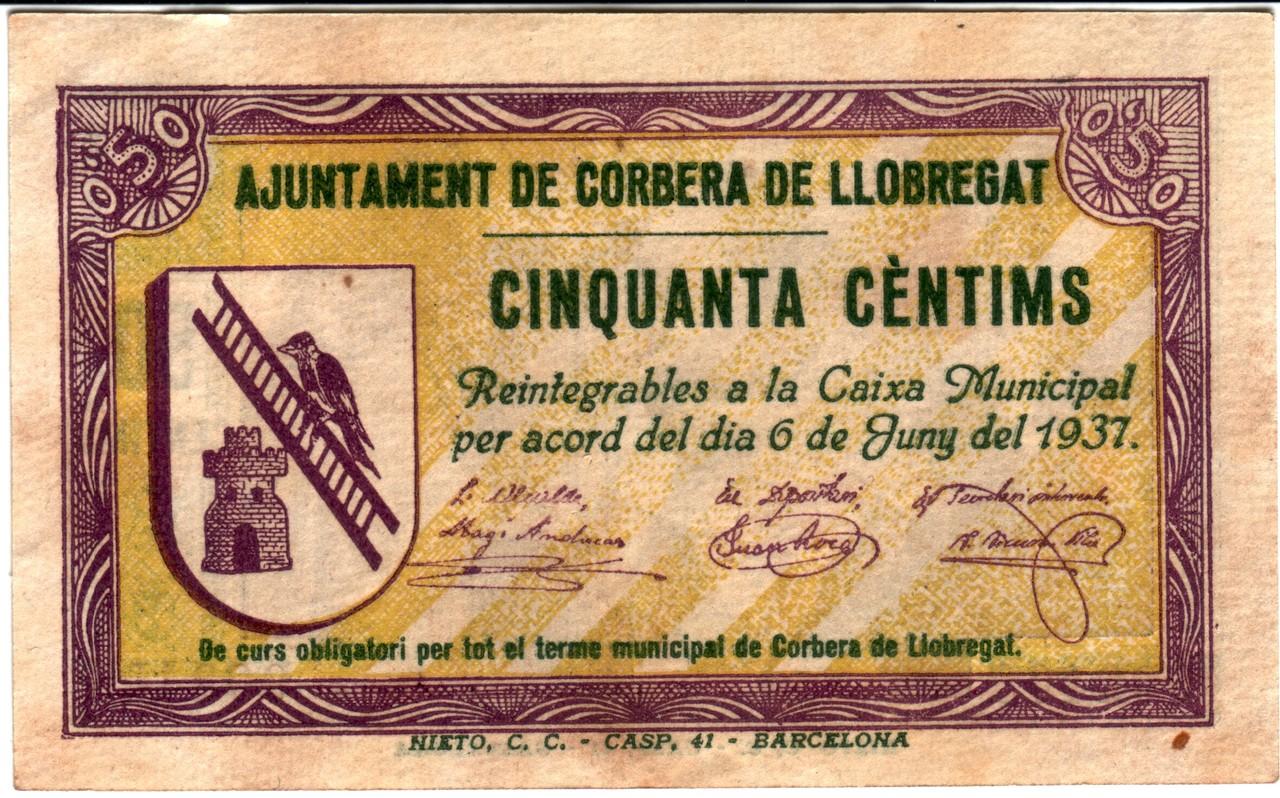 50 Céntimos Corbera de Llobregat, 1937 Corbera1