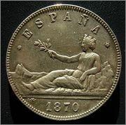 5 PESETAS. 1870 (*18-70) MADRID SN M. GOBIERNO PROVISIONAL Image
